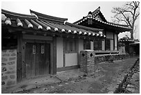 Yangodang residence. Hahoe Folk Village, South Korea (black and white)