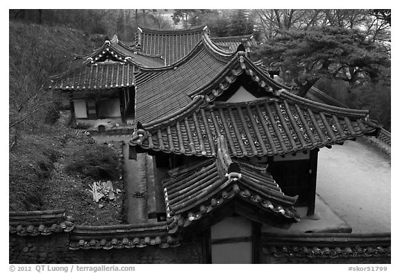 Okyeon pavilion. Hahoe Folk Village, South Korea (black and white)