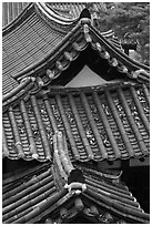 Tiled roofs. Hahoe Folk Village, South Korea ( black and white)