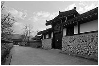 Bukchom residence. Hahoe Folk Village, South Korea ( black and white)