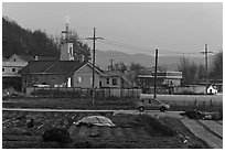 Cultivation and church on outskirts of Andong. South Korea (black and white)