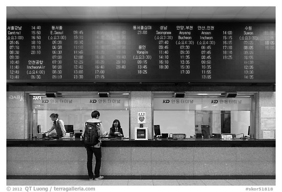 Inside bus terminal, Andong. South Korea (black and white)