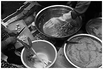 Kimchi preparation. Gyeongju, South Korea ( black and white)