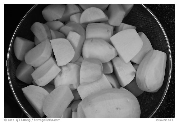 Radish used for kimchi. Gyeongju, South Korea (black and white)