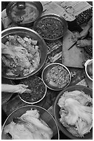 Preparing traditional winter kim chee. Gyeongju, South Korea ( black and white)