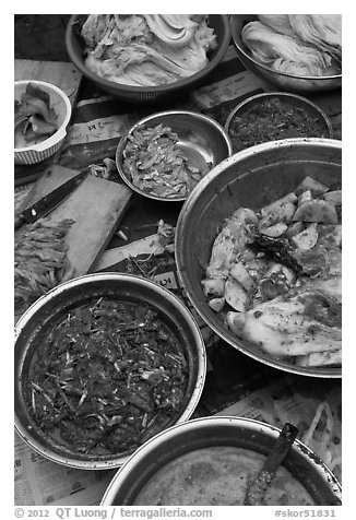 Kimchi ingredients close-up. Gyeongju, South Korea (black and white)