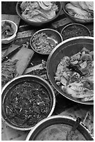 Kimchi ingredients close-up. Gyeongju, South Korea ( black and white)