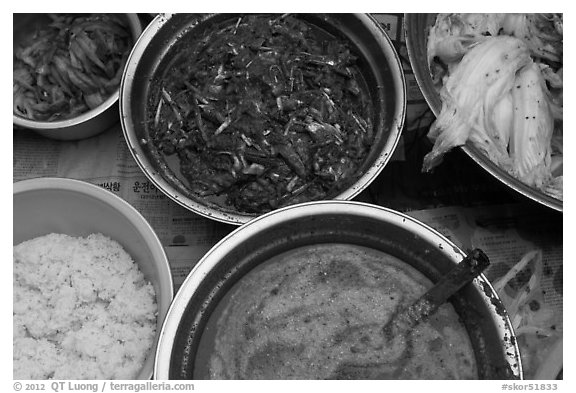 Korean kimchi ingredients. Gyeongju, South Korea (black and white)
