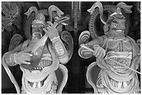 Painted wooden statues, Bulguk-sa. Gyeongju, South Korea (black and white)