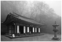 Pavilion dedicated to local spirits, Seokguram. Gyeongju, South Korea ( black and white)
