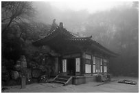 Grotto entrance pavilion in fog, Seokguram. Gyeongju, South Korea ( black and white)