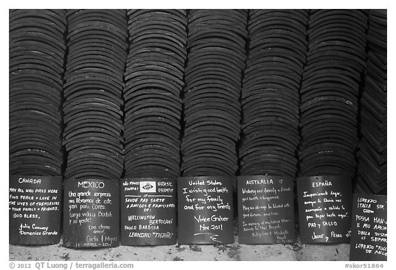 Well-wishing tablets written in many languages, Seokguram. Gyeongju, South Korea (black and white)