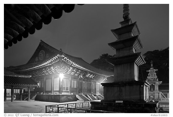 Seokgatap, Dabotap, and Daeungjeon at night, Bulguksa. Gyeongju, South Korea (black and white)