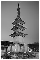 Seokgatap (Sakyamuni) pagoda by night, Bulguk-sa. Gyeongju, South Korea ( black and white)