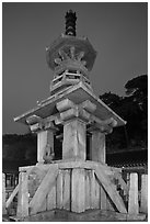Dabotap pagoda by night, Bulguksa. Gyeongju, South Korea (black and white)