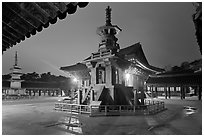 Main courtyard with pagodas by night, Bulguk-sa. Gyeongju, South Korea ( black and white)
