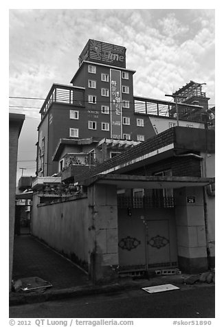 Alley and love motel. Gyeongju, South Korea (black and white)