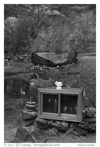 Shrine and carved rock, Namsan Mountain. Gyeongju, South Korea (black and white)