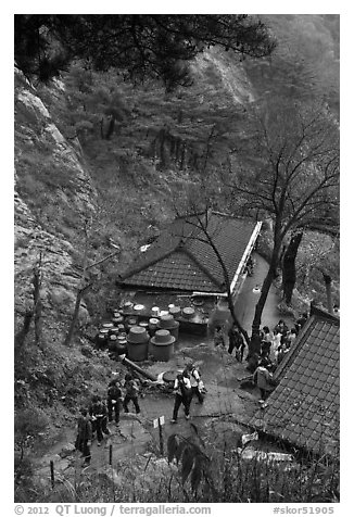 Sangseonam hermitage from above, Mt Namsan. Gyeongju, South Korea (black and white)