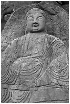 Seated Seokgayeorae rock carving, Namsan Mountain. Gyeongju, South Korea (black and white)