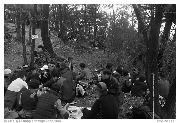 Summit lunch, Geumobong Peak, Mt Namsan. Gyeongju, South Korea (black and white)