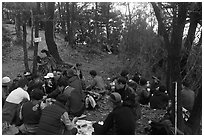 Summit lunch, Geumobong Peak, Mt Namsan. Gyeongju, South Korea ( black and white)