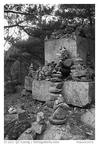 Cairns and monument, Namsan Mountain. Gyeongju, South Korea (black and white)