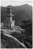 Three storied stone pagoda and mountains, Mt Namsan. Gyeongju, South Korea ( black and white)