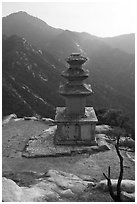 Samnyundaejwabul pagoda, Namsan Mountain. Gyeongju, South Korea ( black and white)