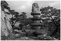 Headless buddha statue on elaborate pedestal, Yongjangsa Valley, Mt Namsan. Gyeongju, South Korea ( black and white)