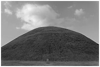 Tumulus and cloud. Gyeongju, South Korea (black and white)