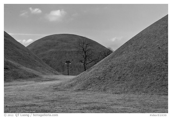 Large burial mounds. Gyeongju, South Korea (black and white)