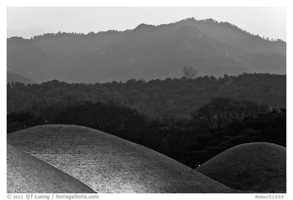 Burial mounds and hills. Gyeongju, South Korea (black and white)