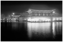 Anapji Pond at night. Gyeongju, South Korea (black and white)