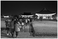 Crowd visiting Anapji Pond at night. Gyeongju, South Korea (black and white)