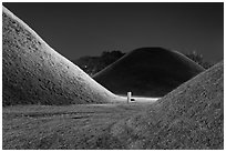 Burial mounds and tombs at night. Gyeongju, South Korea (black and white)
