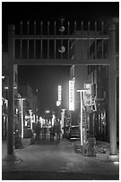 Gate and street with lights at night. Gyeongju, South Korea (black and white)