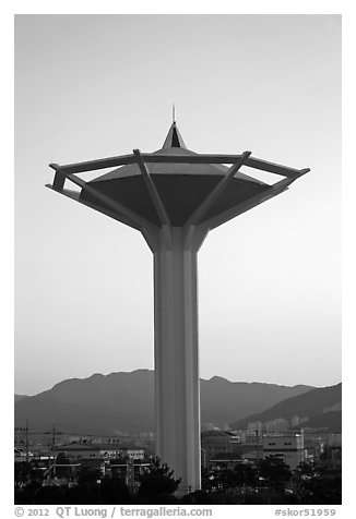Water tower at dawn, Busan. South Korea (black and white)