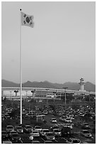 Parking lot of airport, Busan. South Korea (black and white)