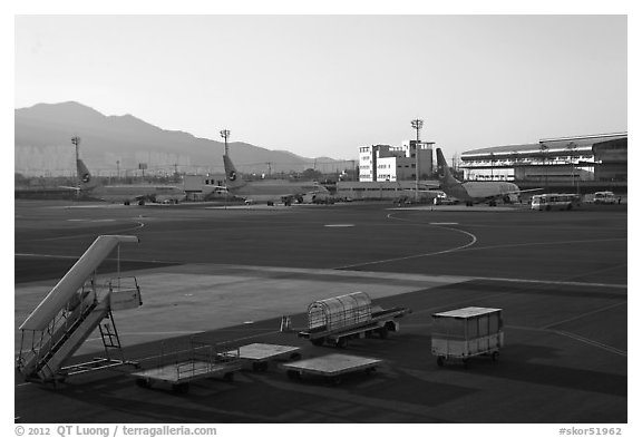 Gimhae International Airport tarmac, Busan. South Korea (black and white)