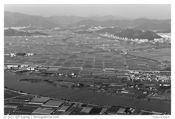 Aerial view of fileds and high rises, Busan. South Korea (black and white)