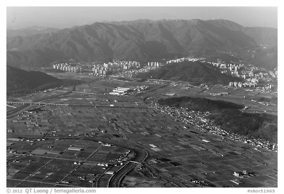 Aerial view of fileds and residential towers, Busan. South Korea (black and white)