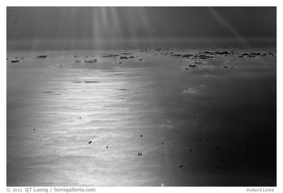 Aerial view of sea in early morning, Busan. South Korea (black and white)