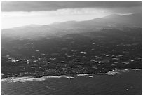 Aerial view of coast. Jeju Island, South Korea ( black and white)