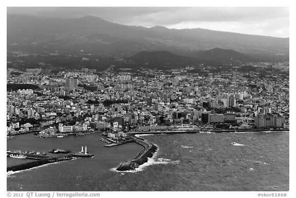 Aerial view of Jeju-Si. Jeju Island, South Korea (black and white)