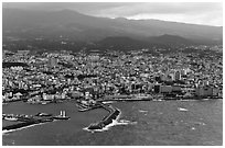 Aerial view of Jeju-Si. Jeju Island, South Korea ( black and white)