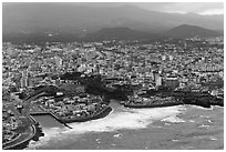 Aerial view of Jeju City. Jeju Island, South Korea (black and white)