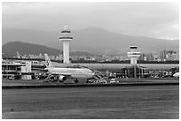 Jeju International Airport. Jeju Island, South Korea ( black and white)