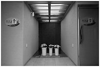 Bathrooms, Witseoreum shelter, Mount Halla. Jeju Island, South Korea ( black and white)