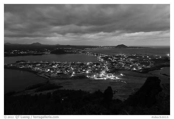 Seongsang Ilchulbong at twilight. Jeju Island, South Korea (black and white)